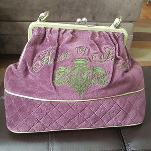 Juicy Purple Velour & Green Leather Trim Bag